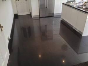 Black tile floor after